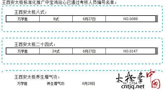 王西安太极标准化推广中宝鸡站心